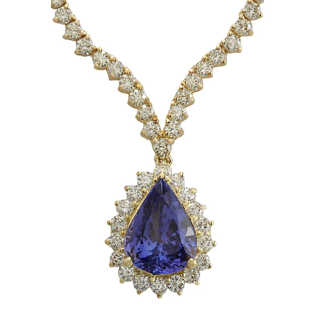 16.67 CTW Natural Tanzanite And Diamond Necklace In 18K