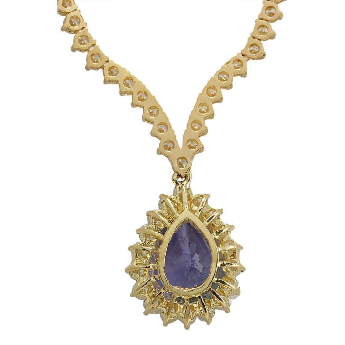 16.67 CTW Natural Tanzanite And Diamond Necklace In 18K - 2