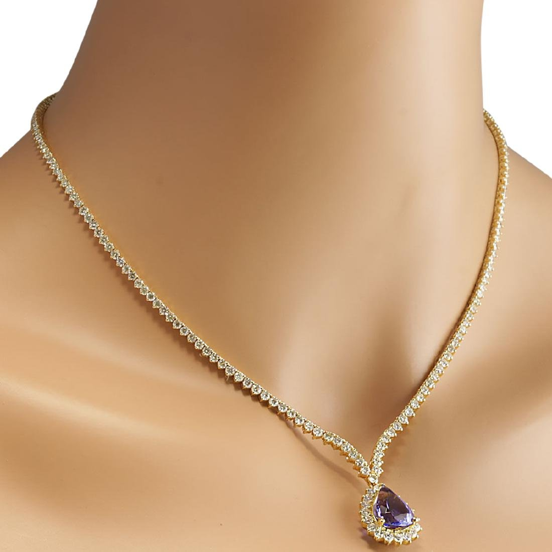 16.67 CTW Natural Tanzanite And Diamond Necklace In 18K - 4