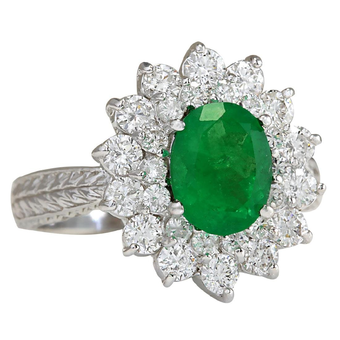 2.50CTW Natural Emerald And Diamond Ring 18K Solid - 2