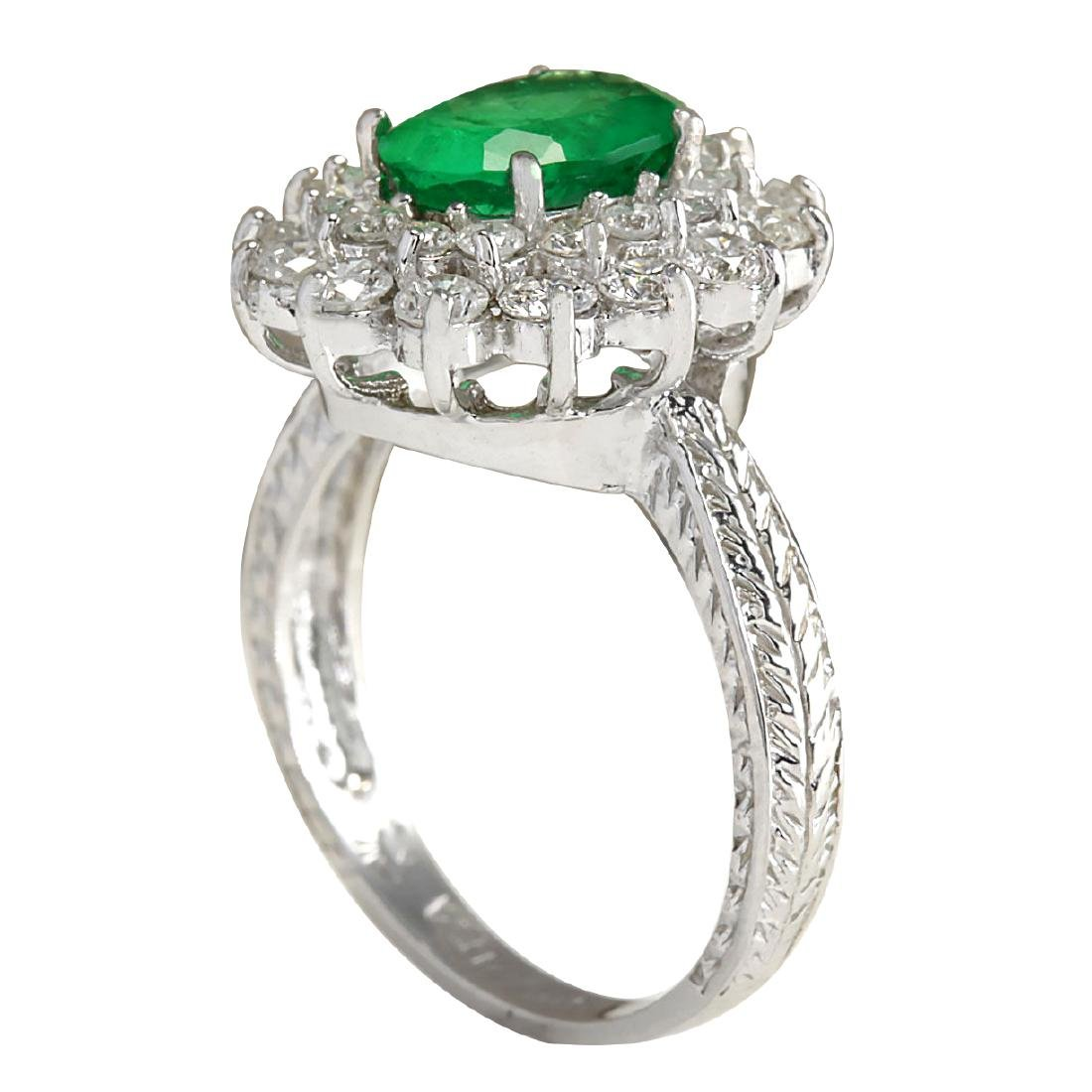 2.50CTW Natural Emerald And Diamond Ring 18K Solid - 3
