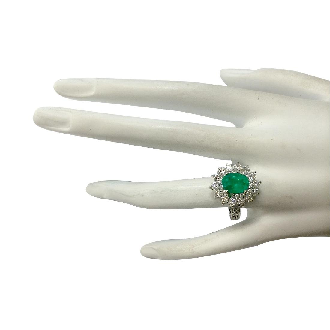 2.50CTW Natural Emerald And Diamond Ring 18K Solid - 4
