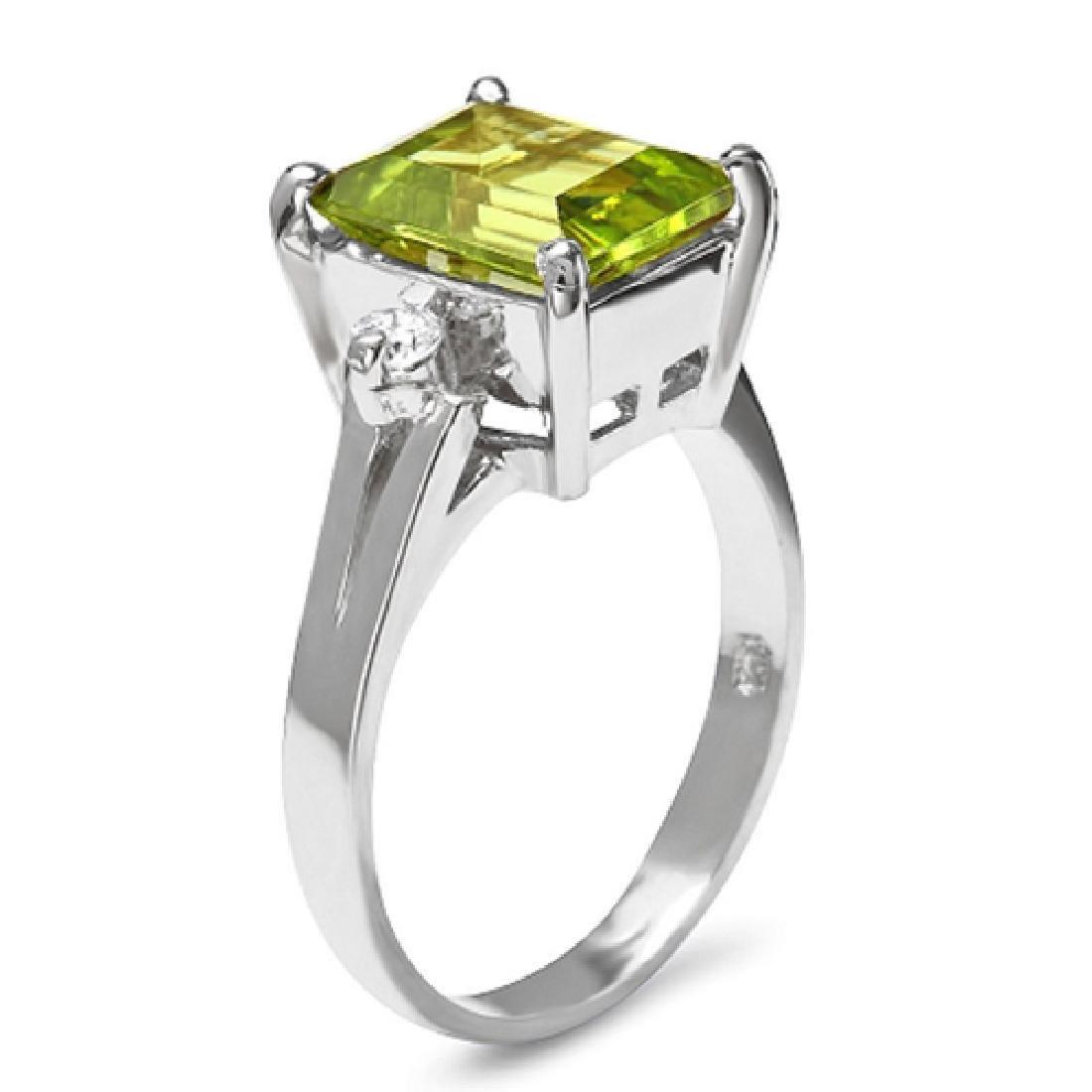 2.60 Carat Natural Peridot 18K Solid White Gold Diamond - 2