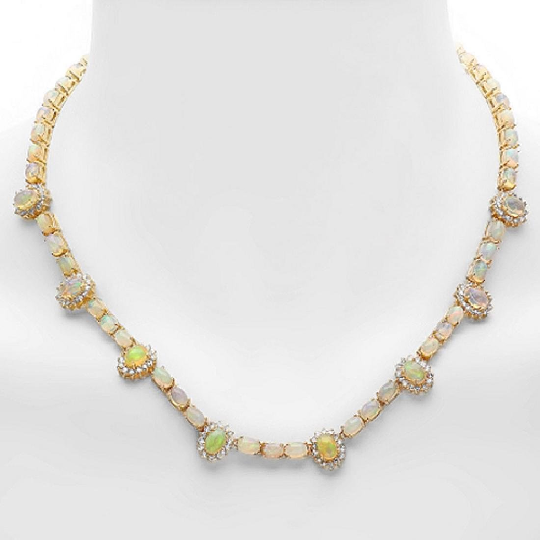24.86 Carat Natural Opal 18K Solid Yellow Gold Diamond
