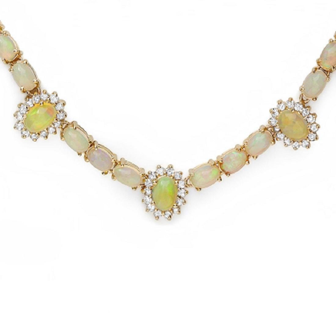 24.86 Carat Natural Opal 18K Solid Yellow Gold Diamond - 2
