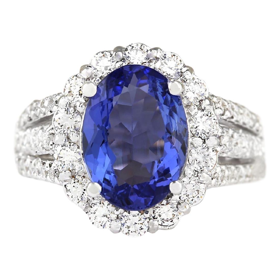 5.42 CTW Natural Blue Tanzanite And Diamond Ring 18K