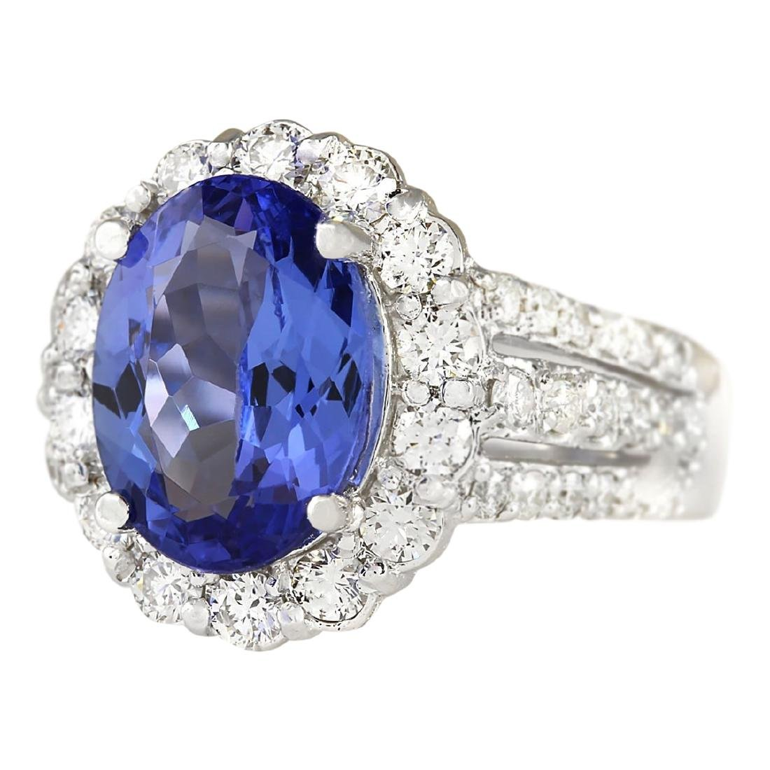 5.42 CTW Natural Blue Tanzanite And Diamond Ring 18K - 2