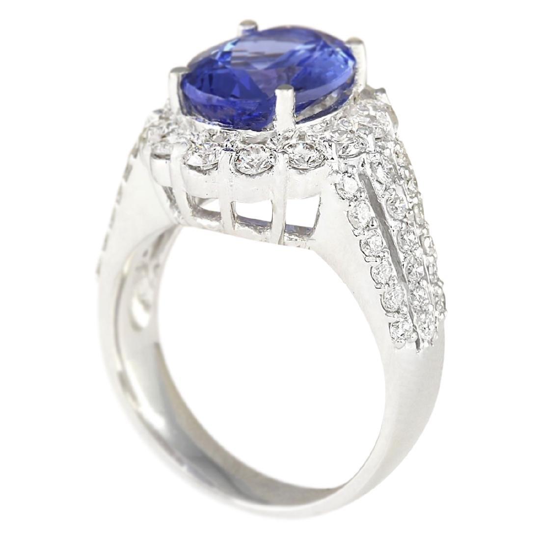 5.42 CTW Natural Blue Tanzanite And Diamond Ring 18K - 3
