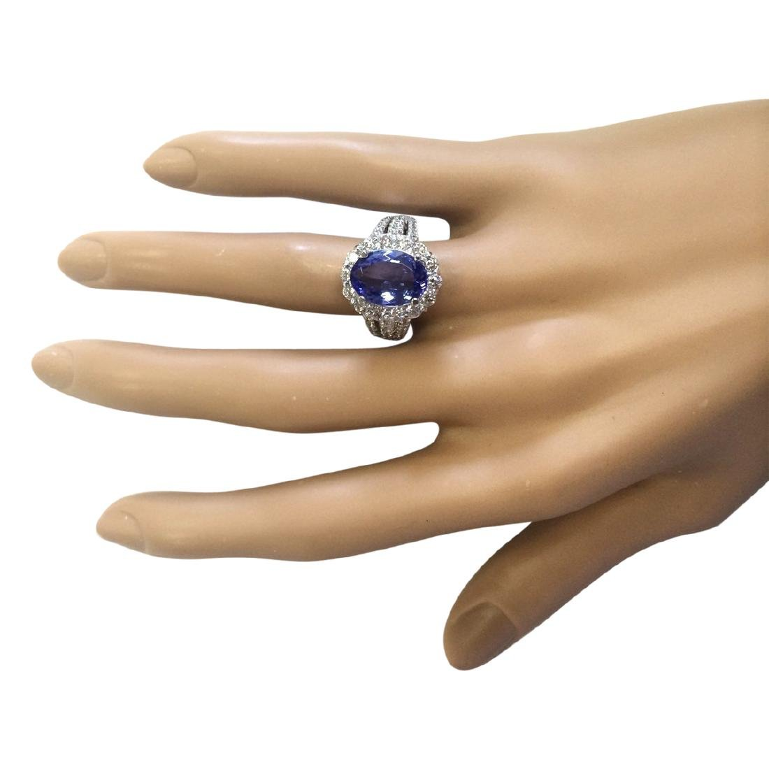 5.42 CTW Natural Blue Tanzanite And Diamond Ring 18K - 4