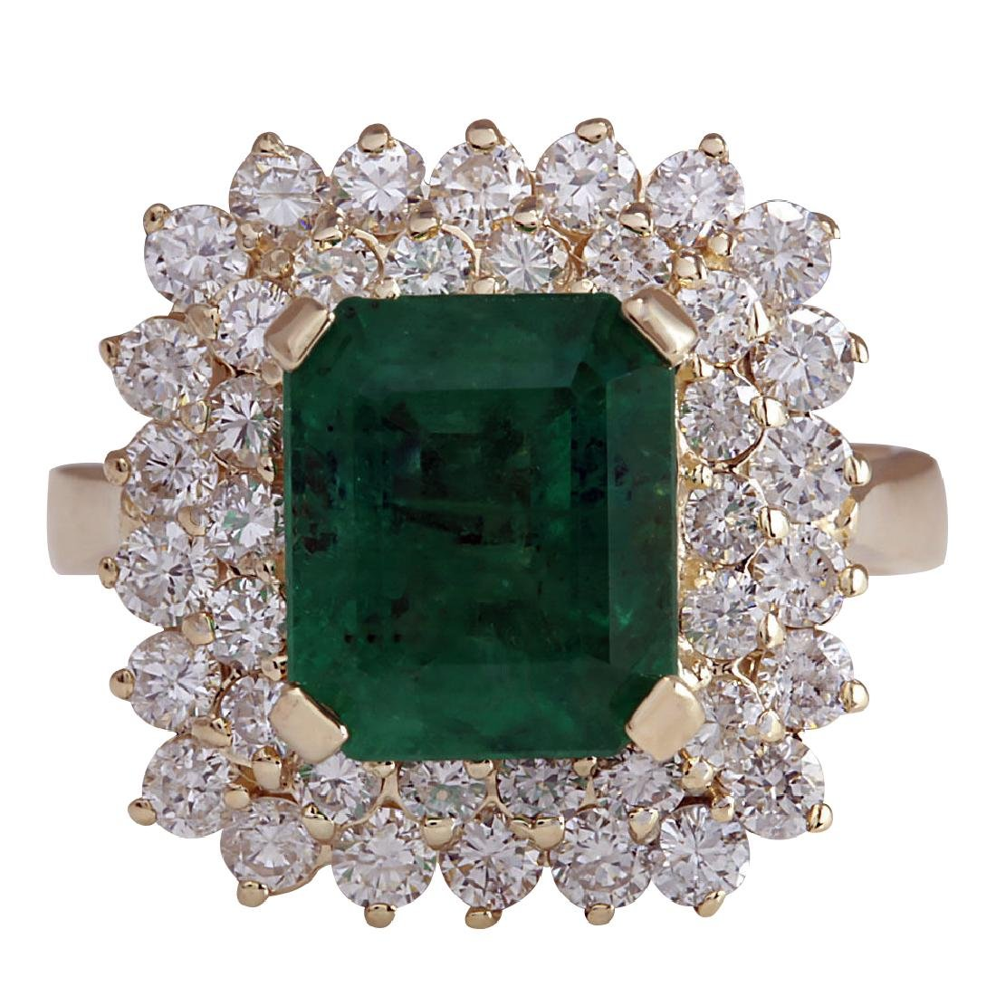 5.51CTW Natural Emerald And Diamond Ring 18K Solid