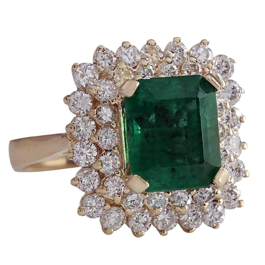 5.51CTW Natural Emerald And Diamond Ring 18K Solid - 2