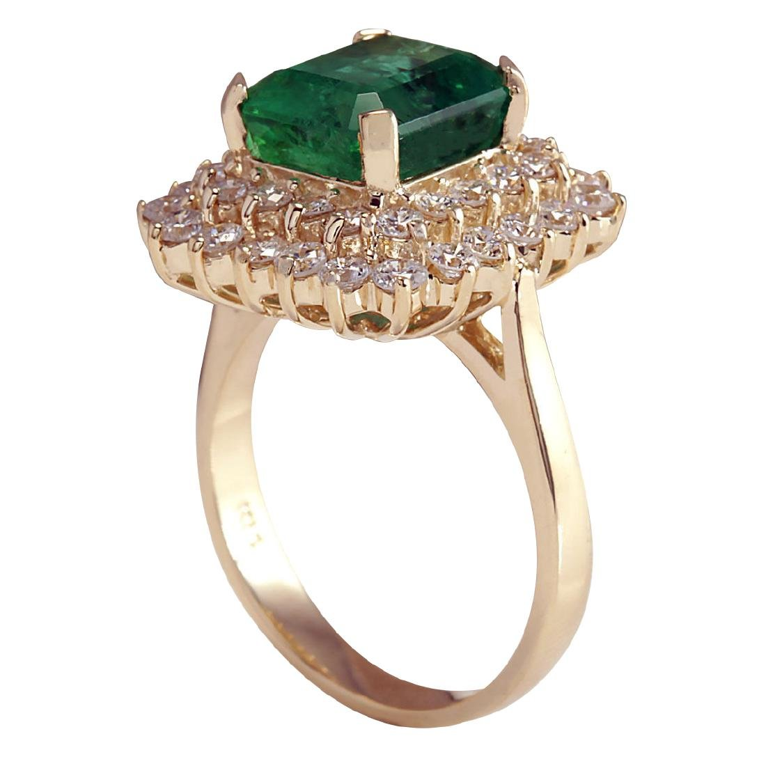 5.51CTW Natural Emerald And Diamond Ring 18K Solid - 3
