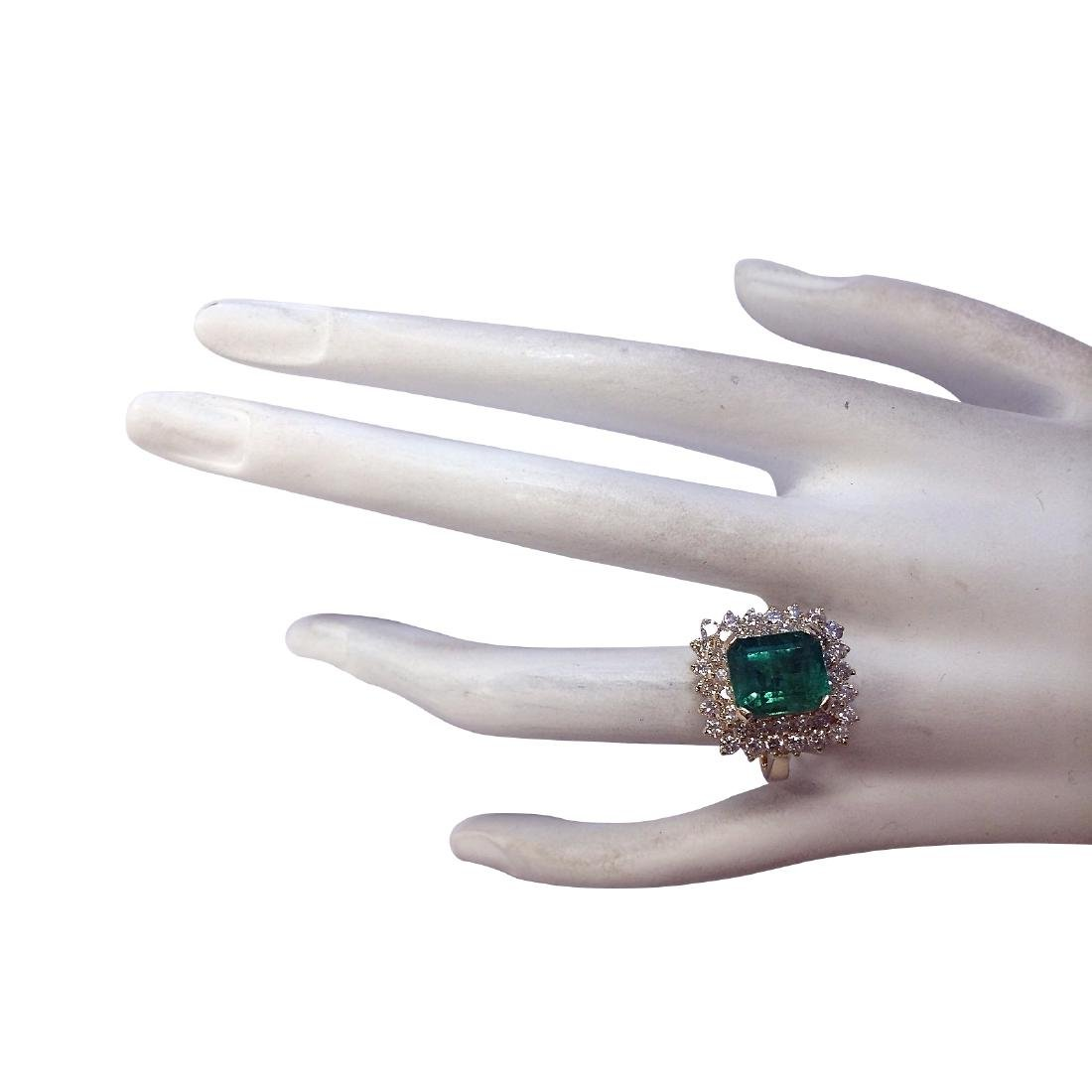 5.51CTW Natural Emerald And Diamond Ring 18K Solid - 4