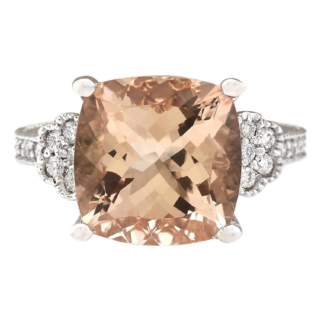 8.11 CTW Natural Morganite And Diamond Ring In 18K