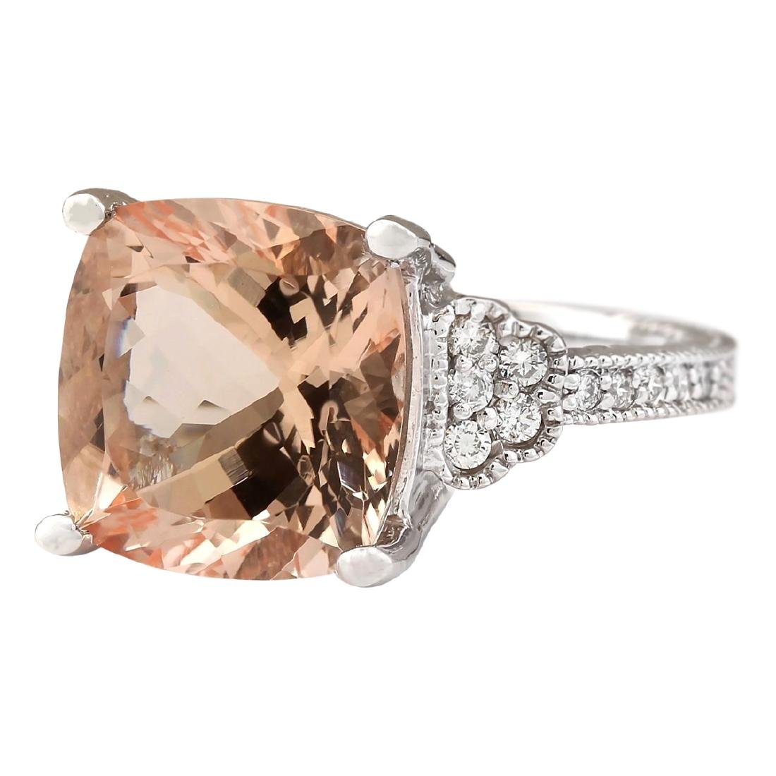 8.11 CTW Natural Morganite And Diamond Ring In 18K - 2