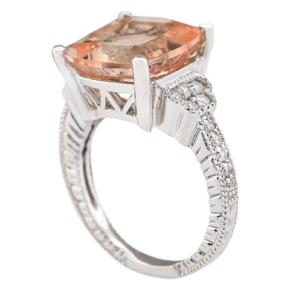 8.11 CTW Natural Morganite And Diamond Ring In 18K - 3