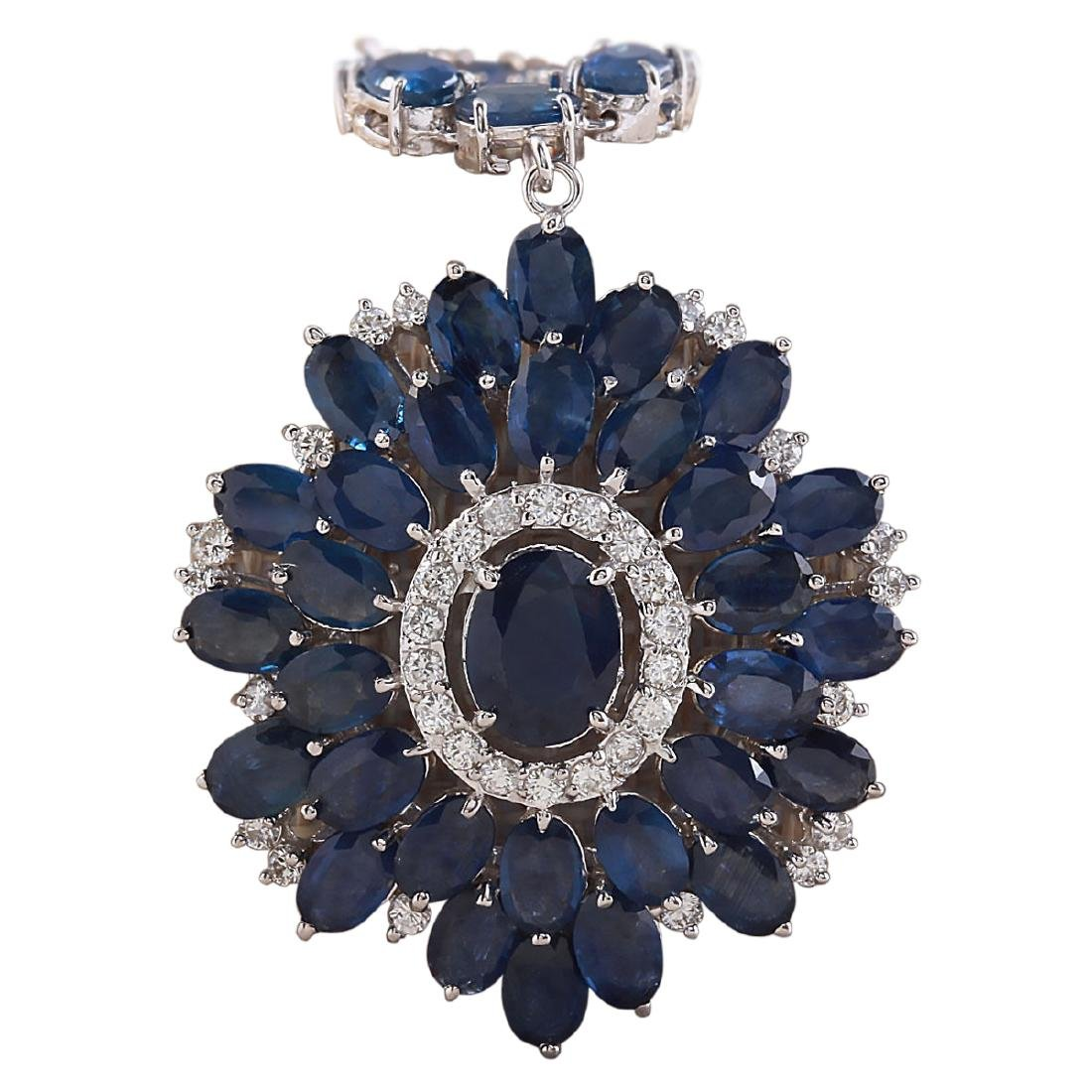 61.35 CTW Natural Blue Sapphire And Diamond Necklace In