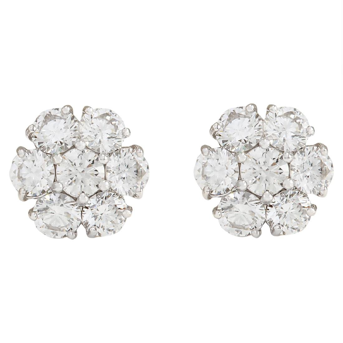 2.00 CTW Natural Diamond Earrings 18K Solid White Gold