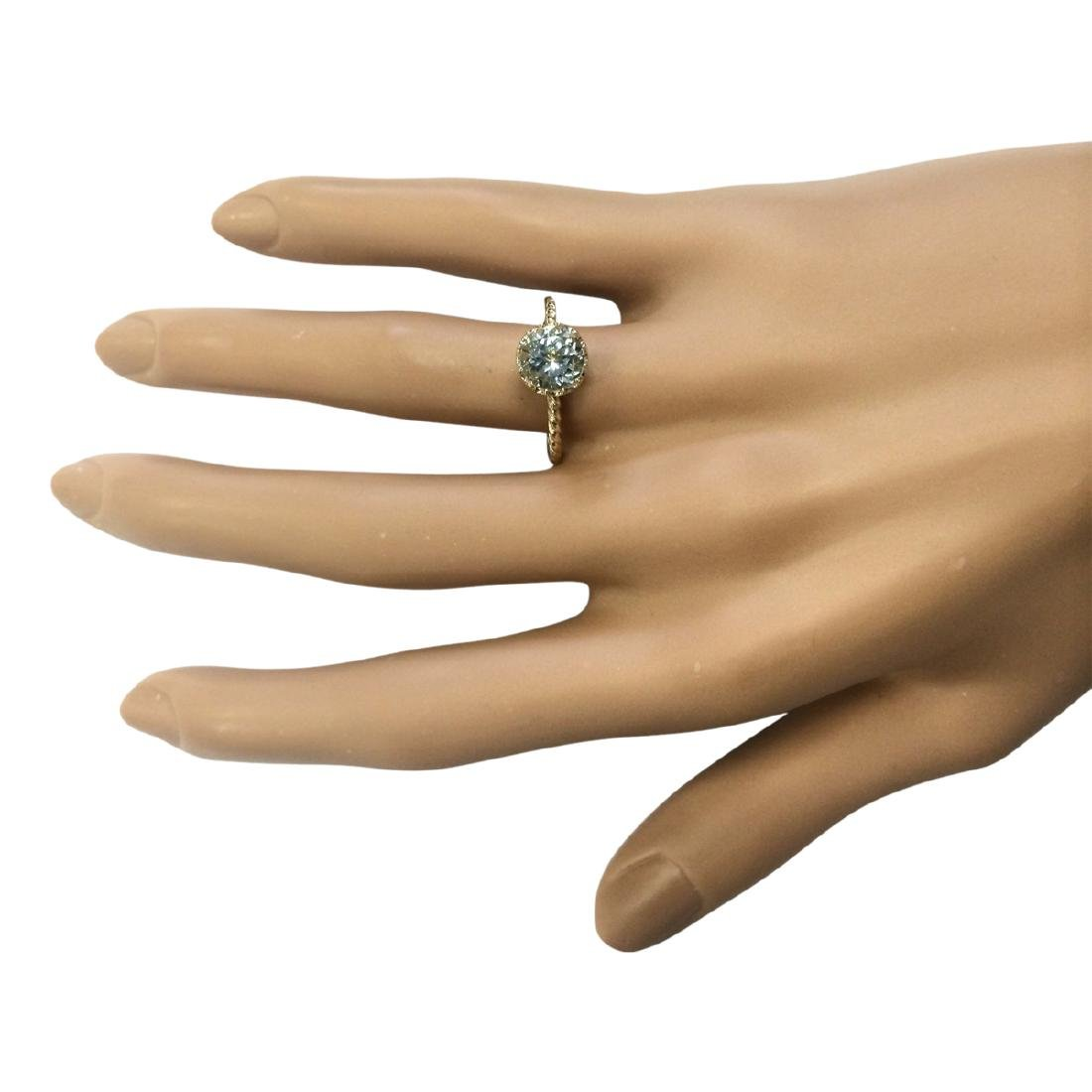 1.50 CTW Natural Aquamarine Ring In 18K Yellow Gold - 4