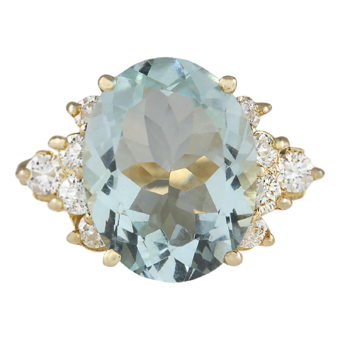 4.75 CTW Natural Aquamarine And Diamond Ring In 18K