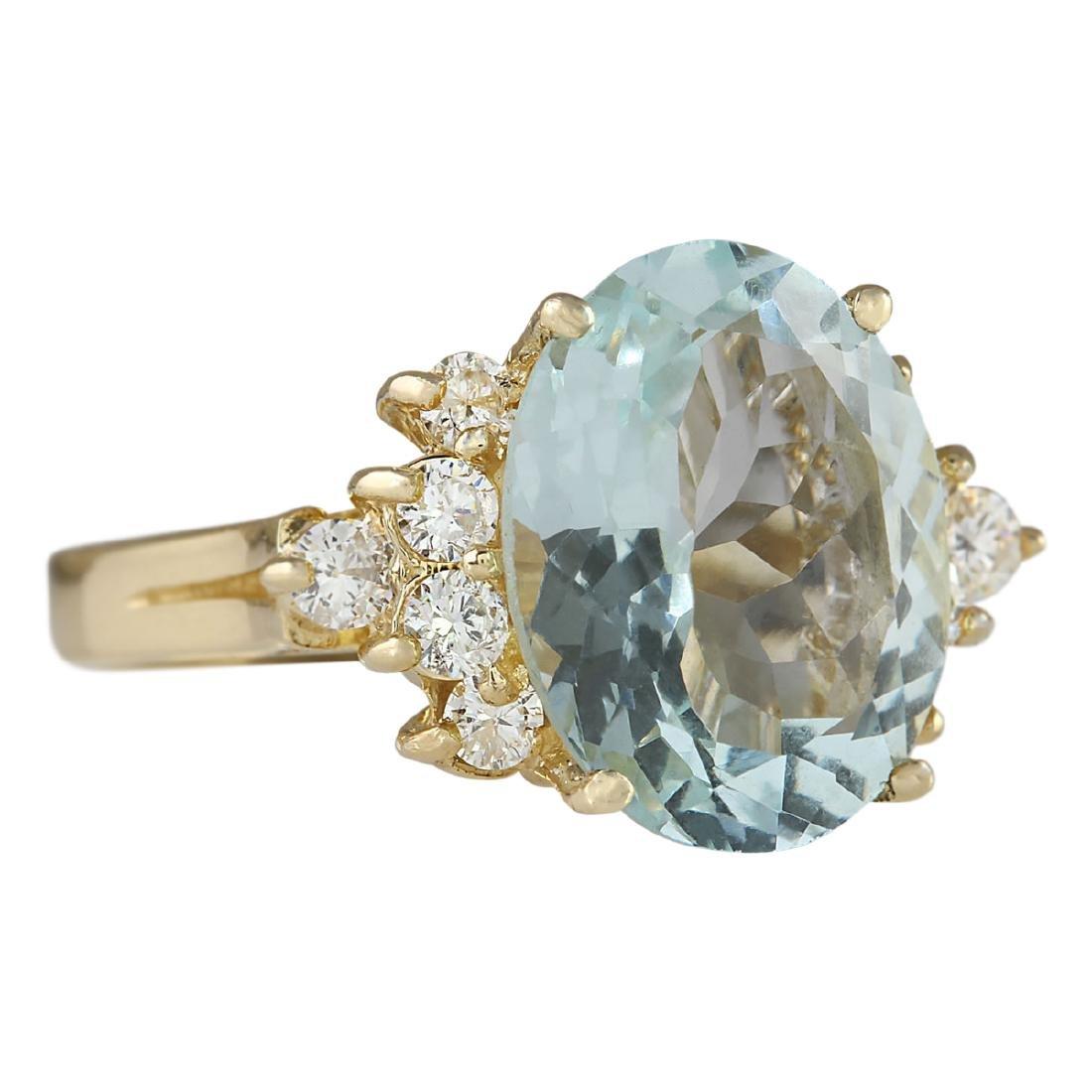4.75 CTW Natural Aquamarine And Diamond Ring In 18K - 2
