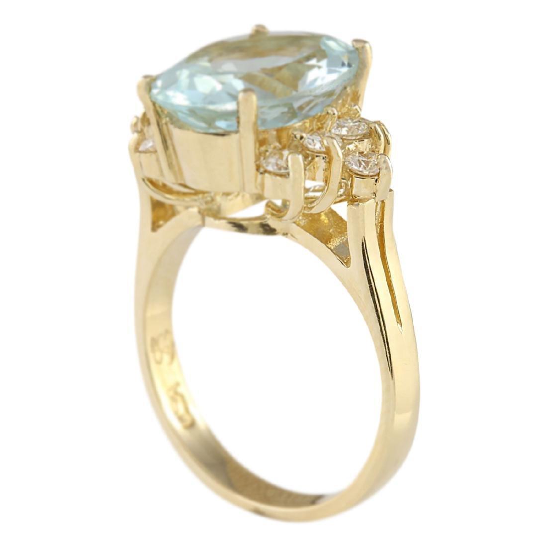 4.75 CTW Natural Aquamarine And Diamond Ring In 18K - 3
