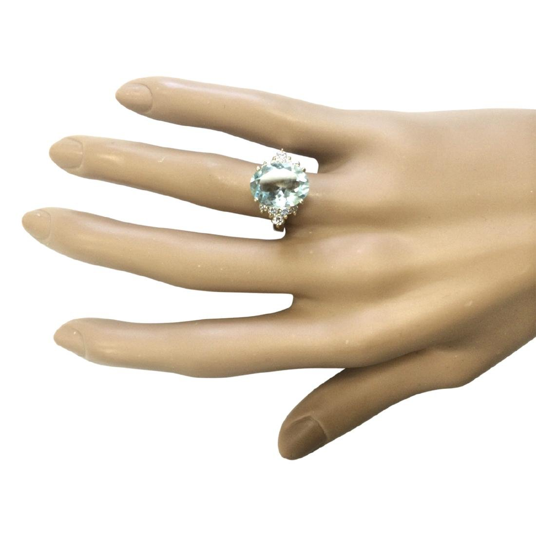 4.75 CTW Natural Aquamarine And Diamond Ring In 18K - 4