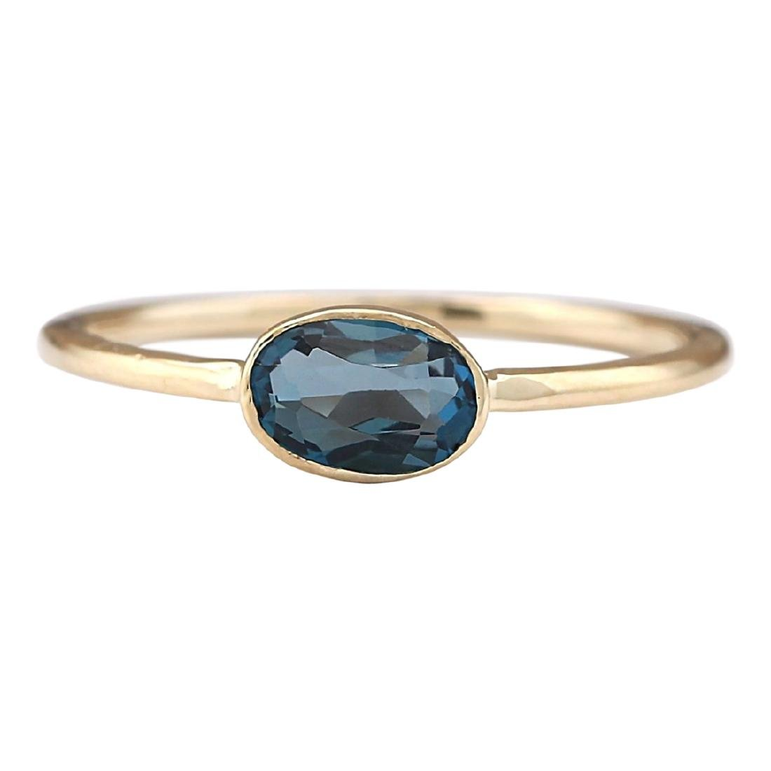 0.60 CTW Natural London Blue Topaz Ring In 18K Yellow