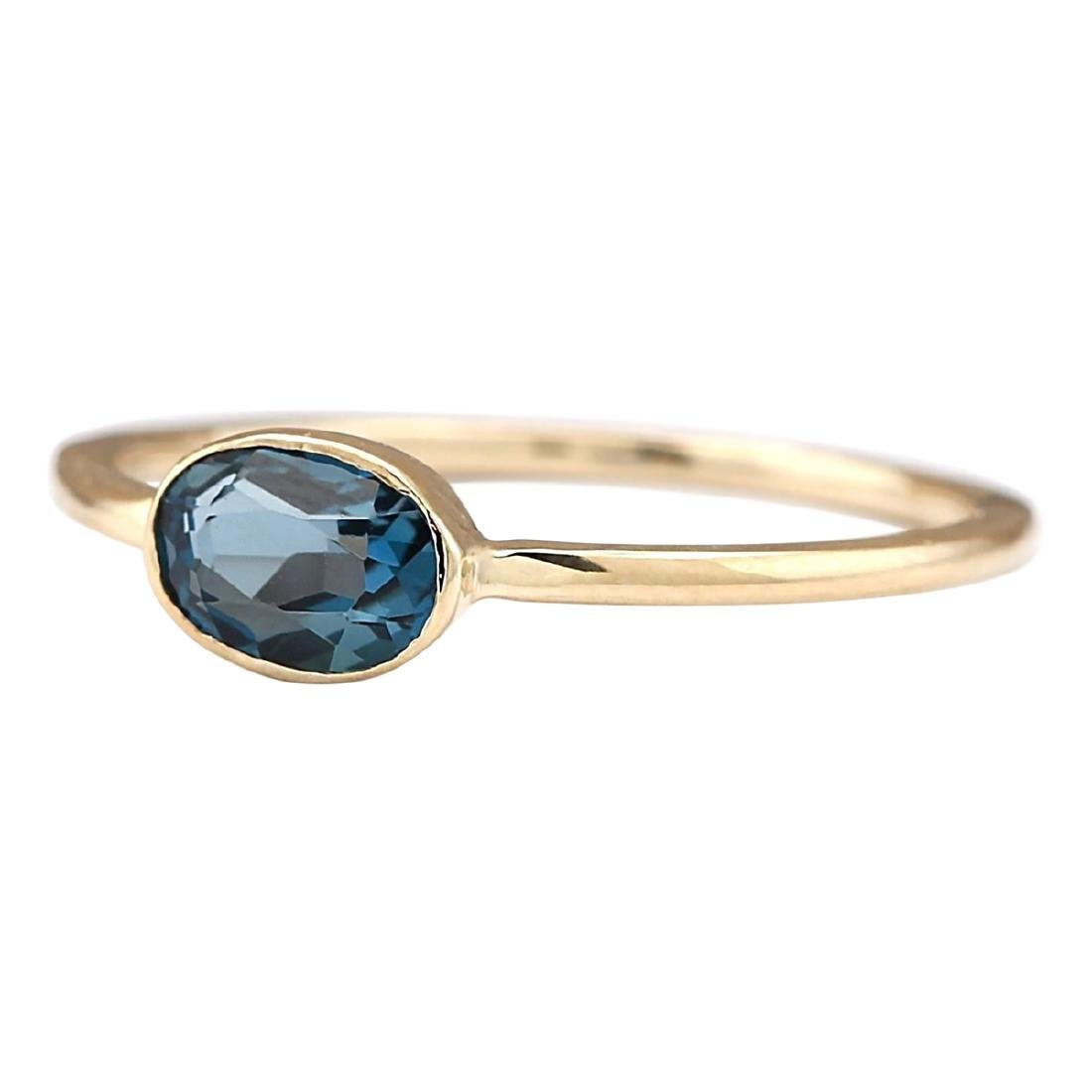 0.60 CTW Natural London Blue Topaz Ring In 18K Yellow - 2