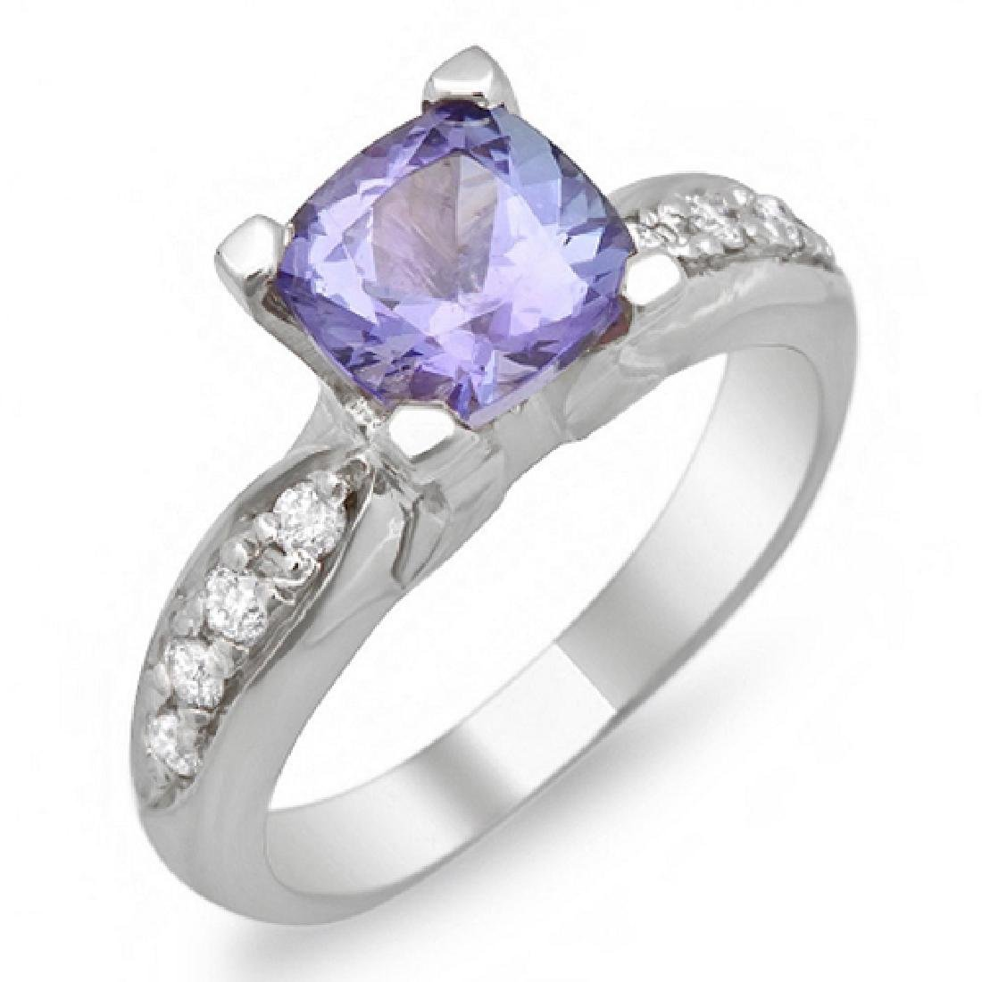 1.55 Carat Natural Tanzanite 18K Solid White Gold