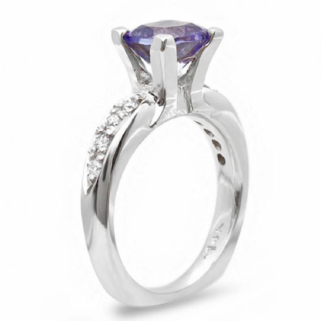 1.55 Carat Natural Tanzanite 18K Solid White Gold - 2