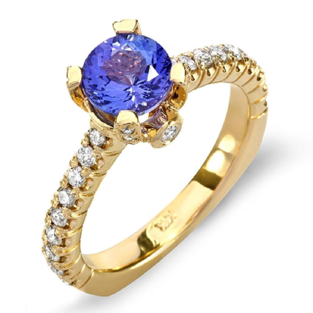 2.25 Carat Natural Tanzanite 18K Solid Yellow Gold