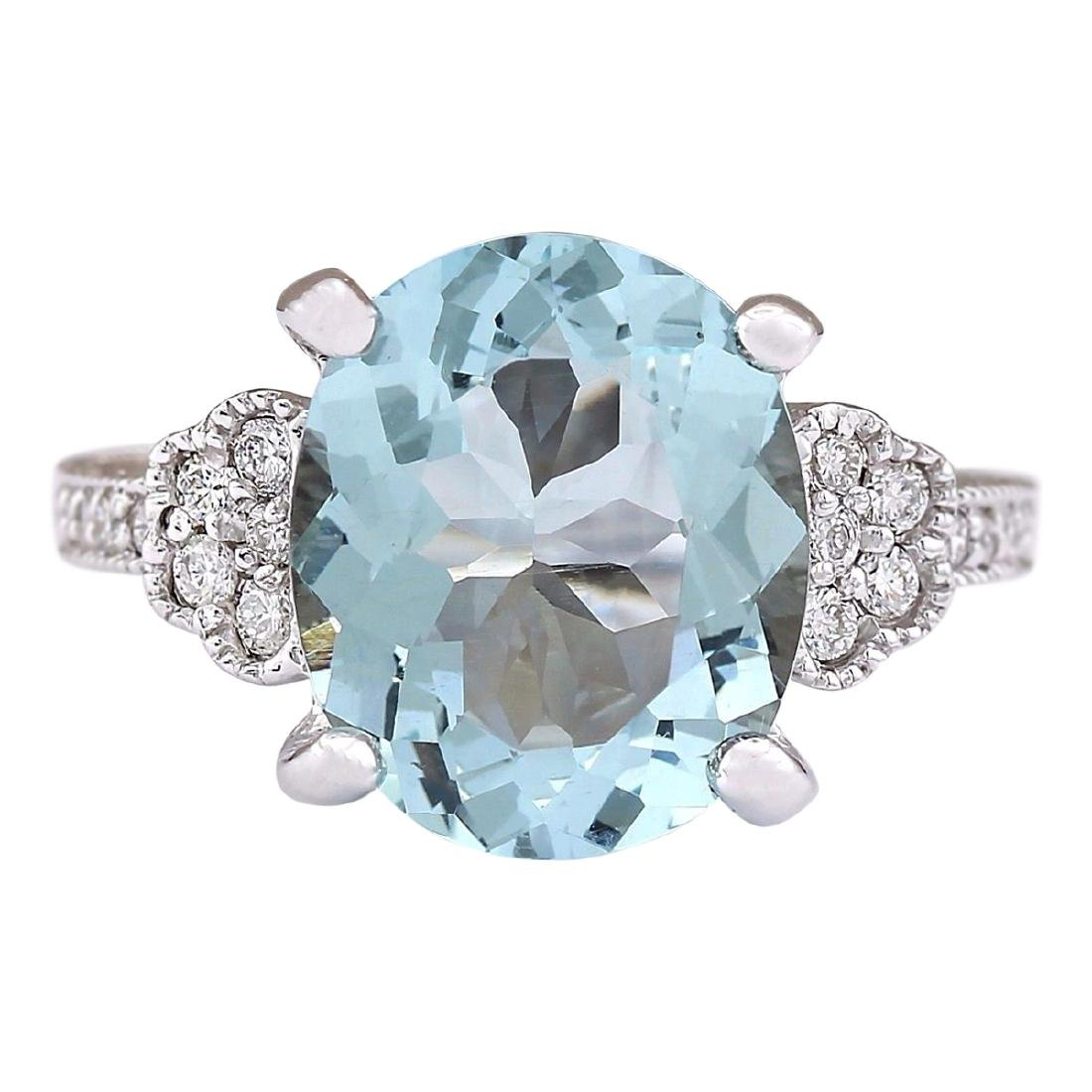 5.89 CTW Natural Aquamarine And Diamond Ring In 18K
