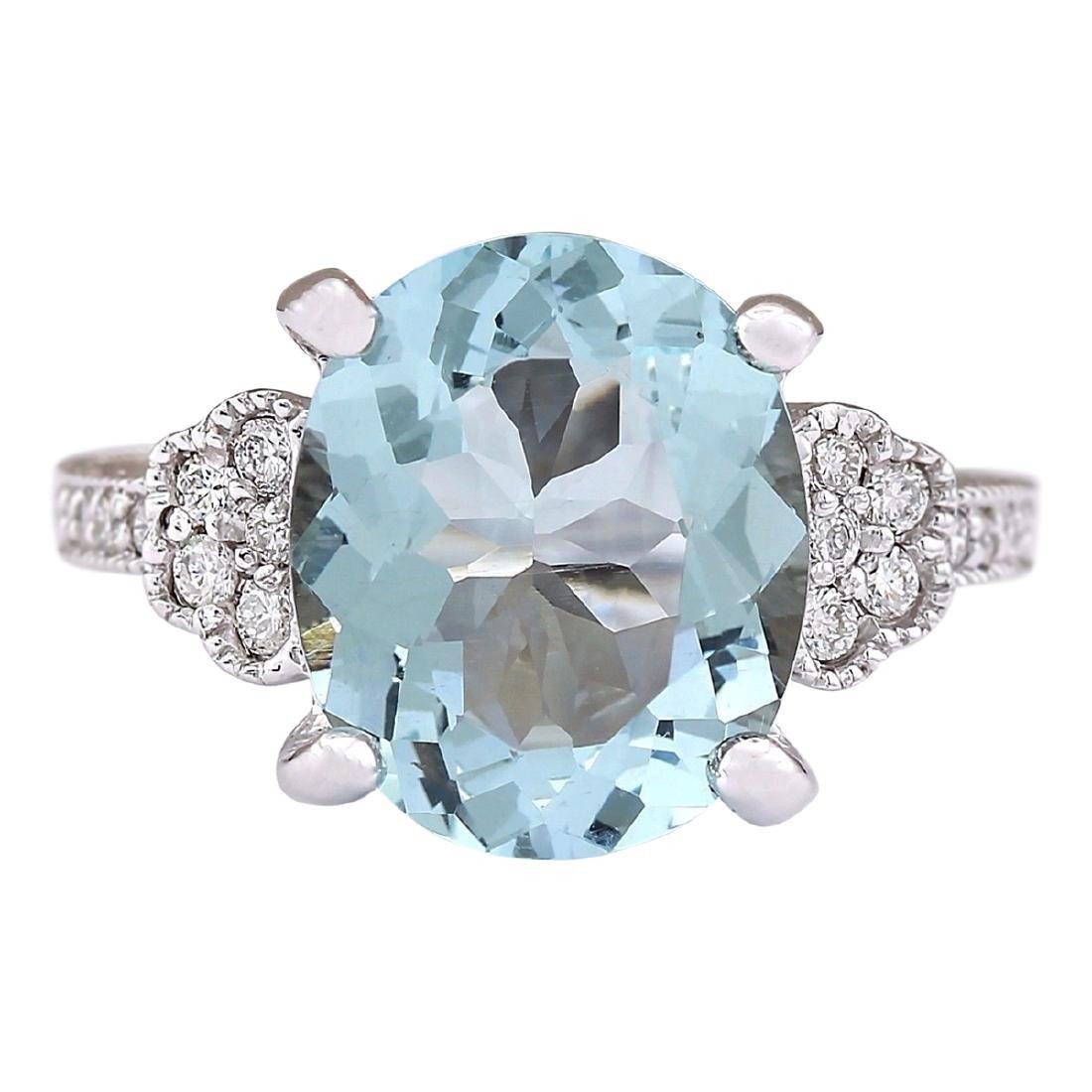 5.89 CTW Natural Aquamarine And Diamond Ring In 18K