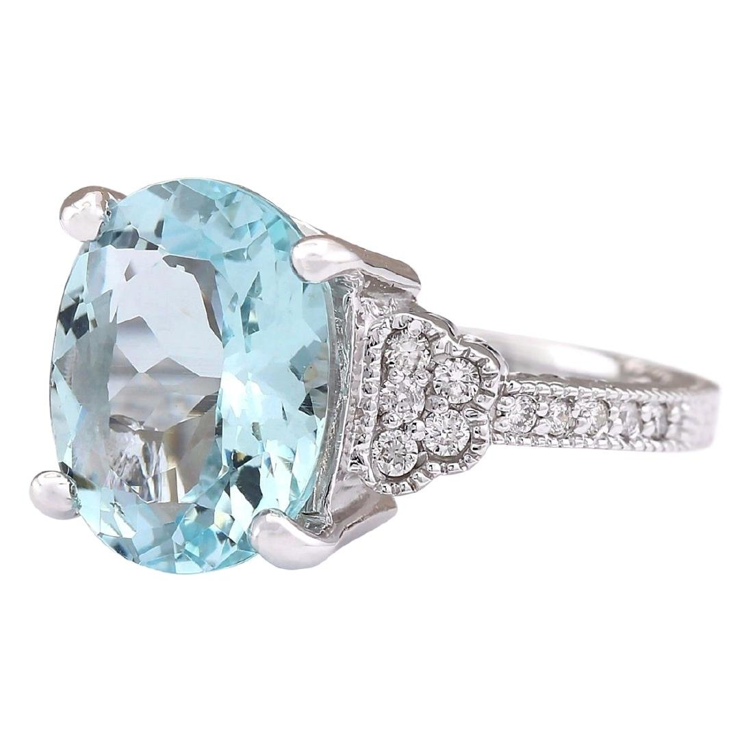 5.89 CTW Natural Aquamarine And Diamond Ring In 18K - 2
