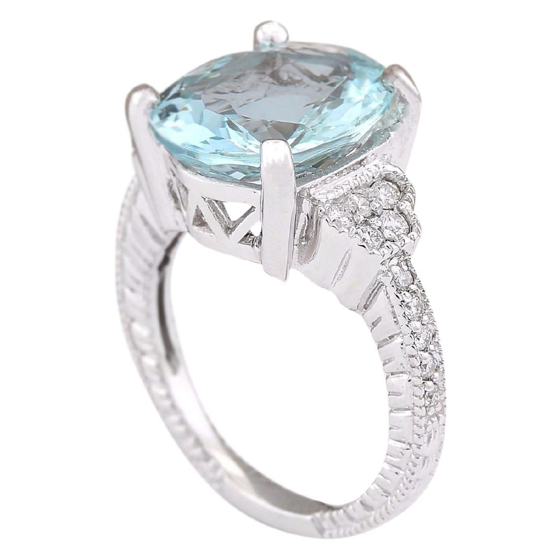 5.89 CTW Natural Aquamarine And Diamond Ring In 18K - 3