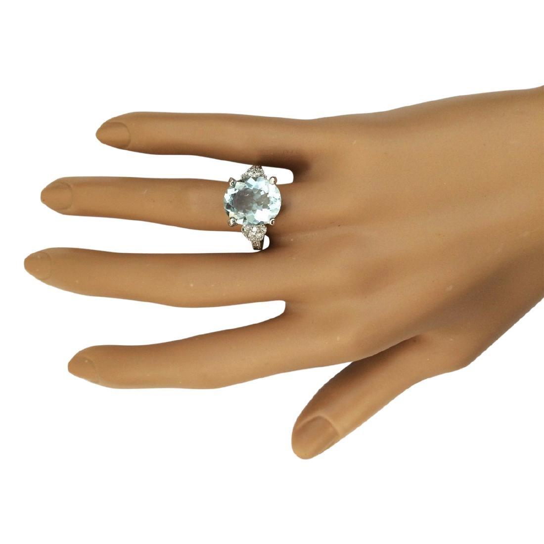 5.89 CTW Natural Aquamarine And Diamond Ring In 18K - 4