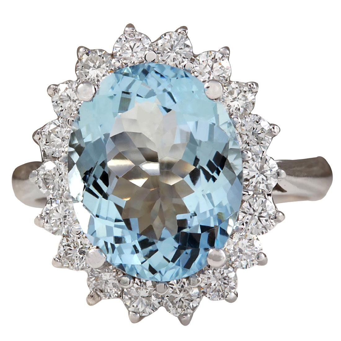5.92CTW Natural Aquamarine And Diamond Ring In 18K