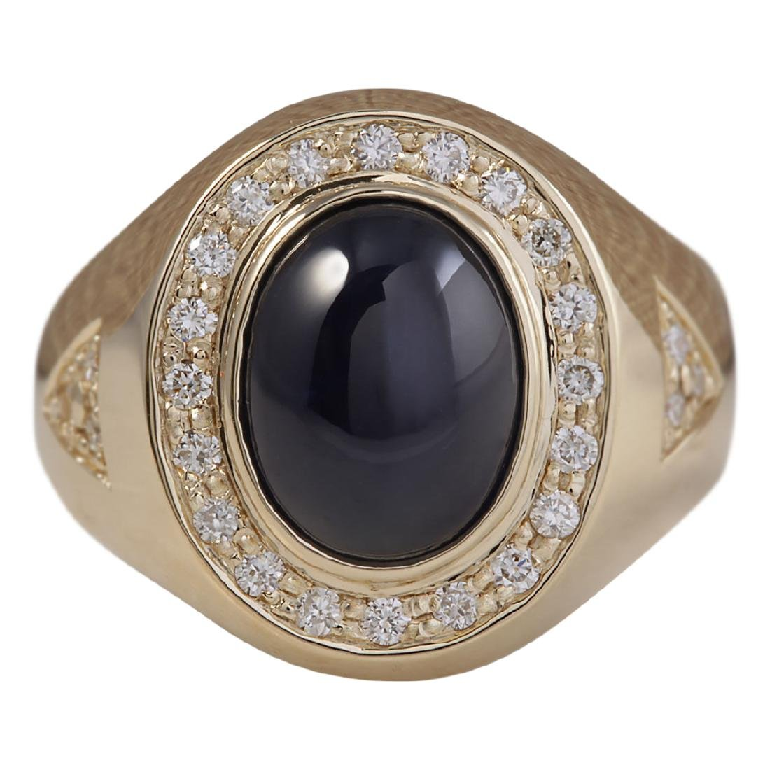 5.90 CTW Natural Blue Mens Sapphire And Diamond Ring In