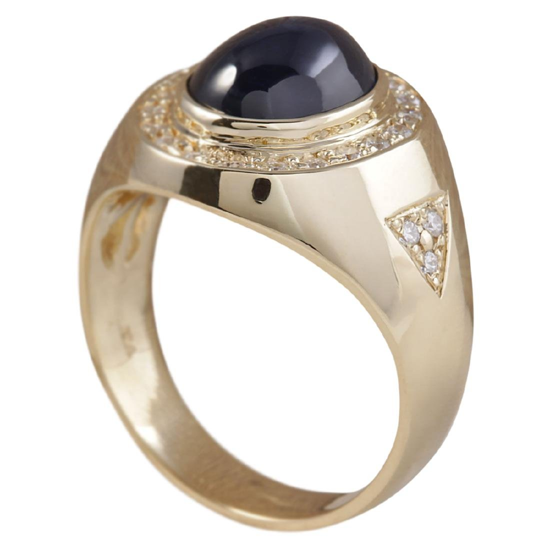 5.90 CTW Natural Blue Mens Sapphire And Diamond Ring In - 3