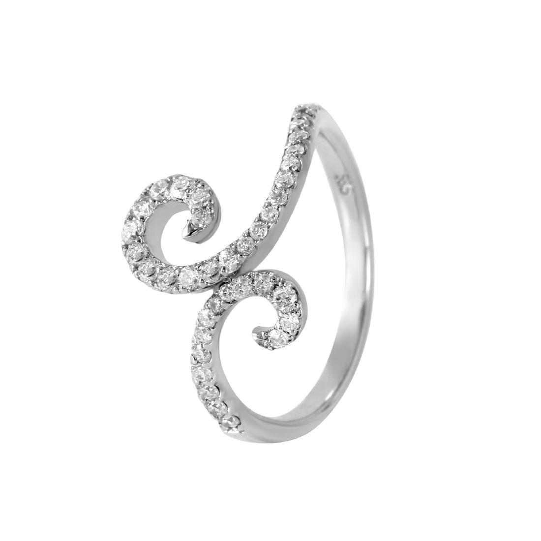 0.54 Carat Natural Diamond 18K Solid White Gold Ring