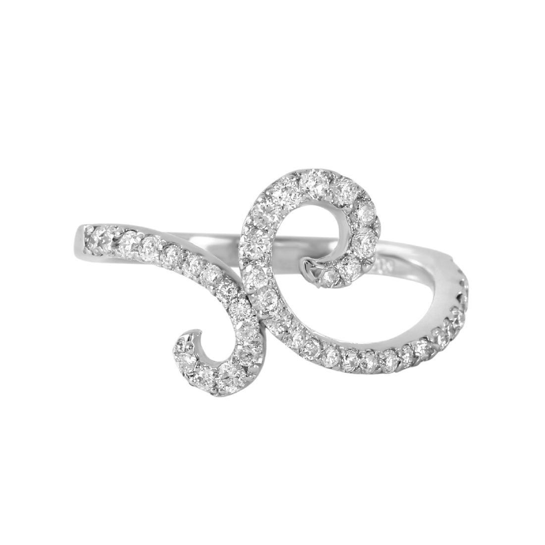 0.54 Carat Natural Diamond 18K Solid White Gold Ring - 2