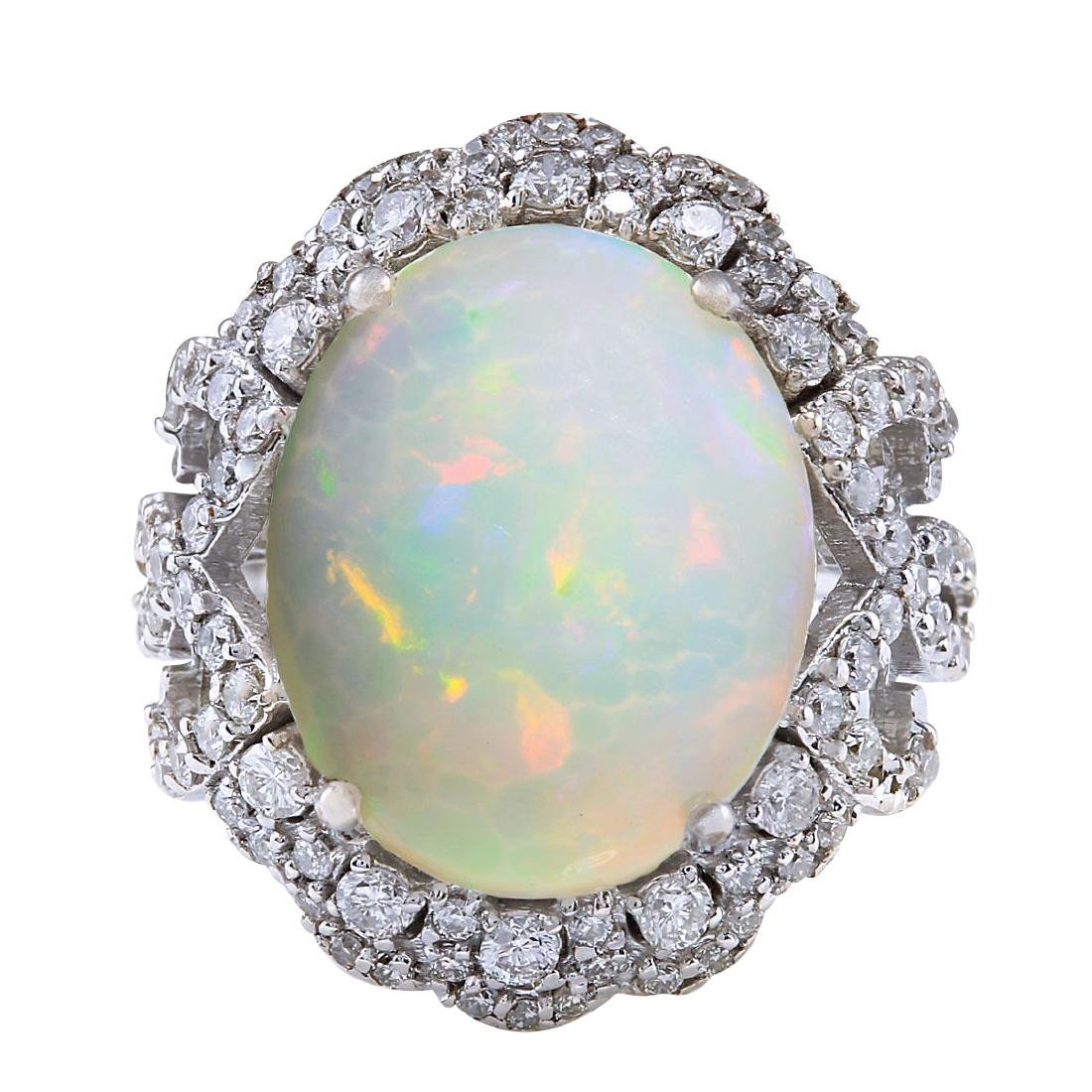 7.24CTW Natural Opal And Diamond Ring In 18K White Gold