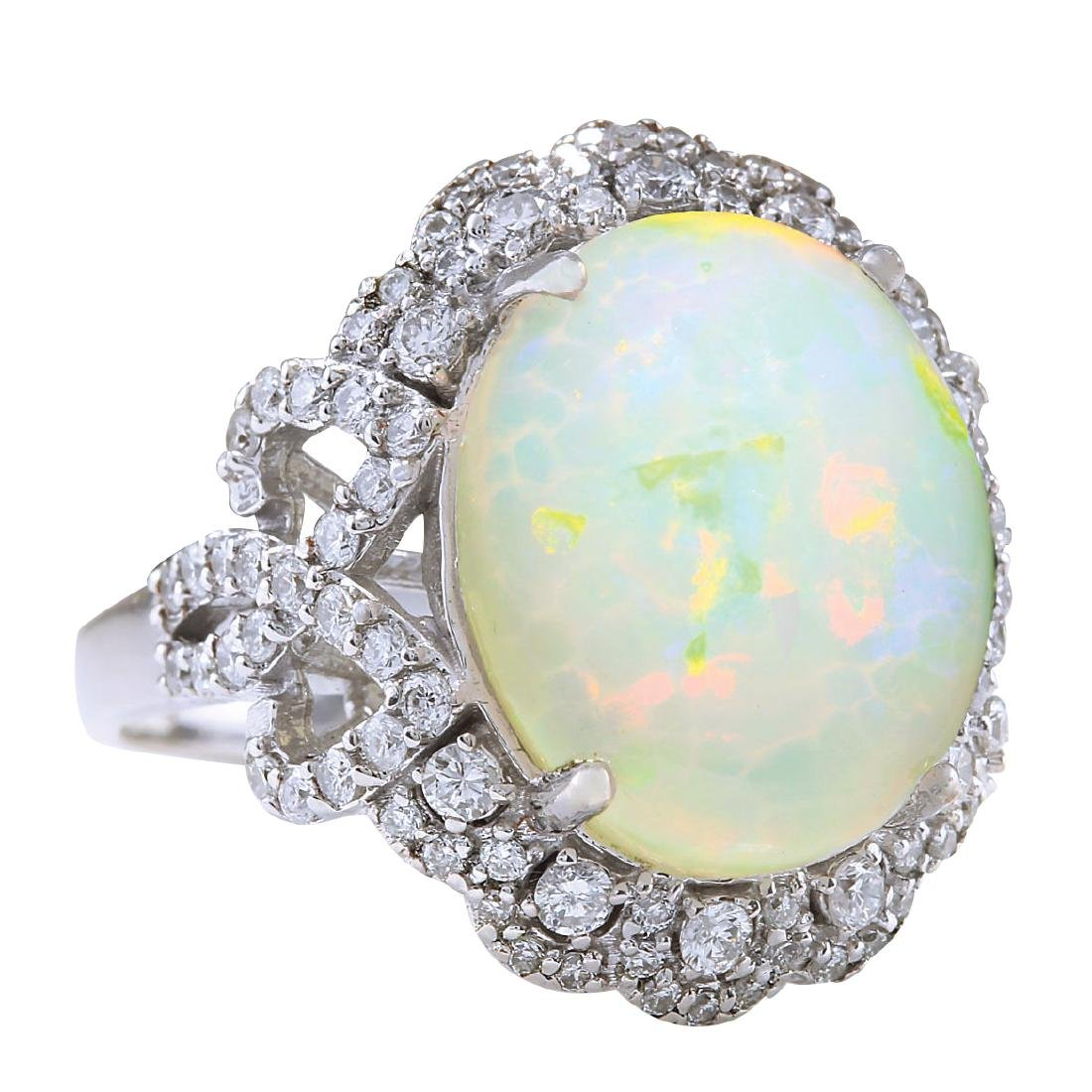 7.24CTW Natural Opal And Diamond Ring In 18K White Gold - 2