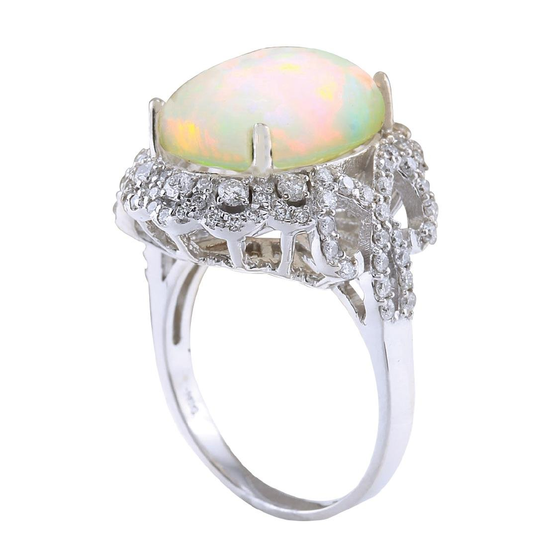 7.24CTW Natural Opal And Diamond Ring In 18K White Gold - 3