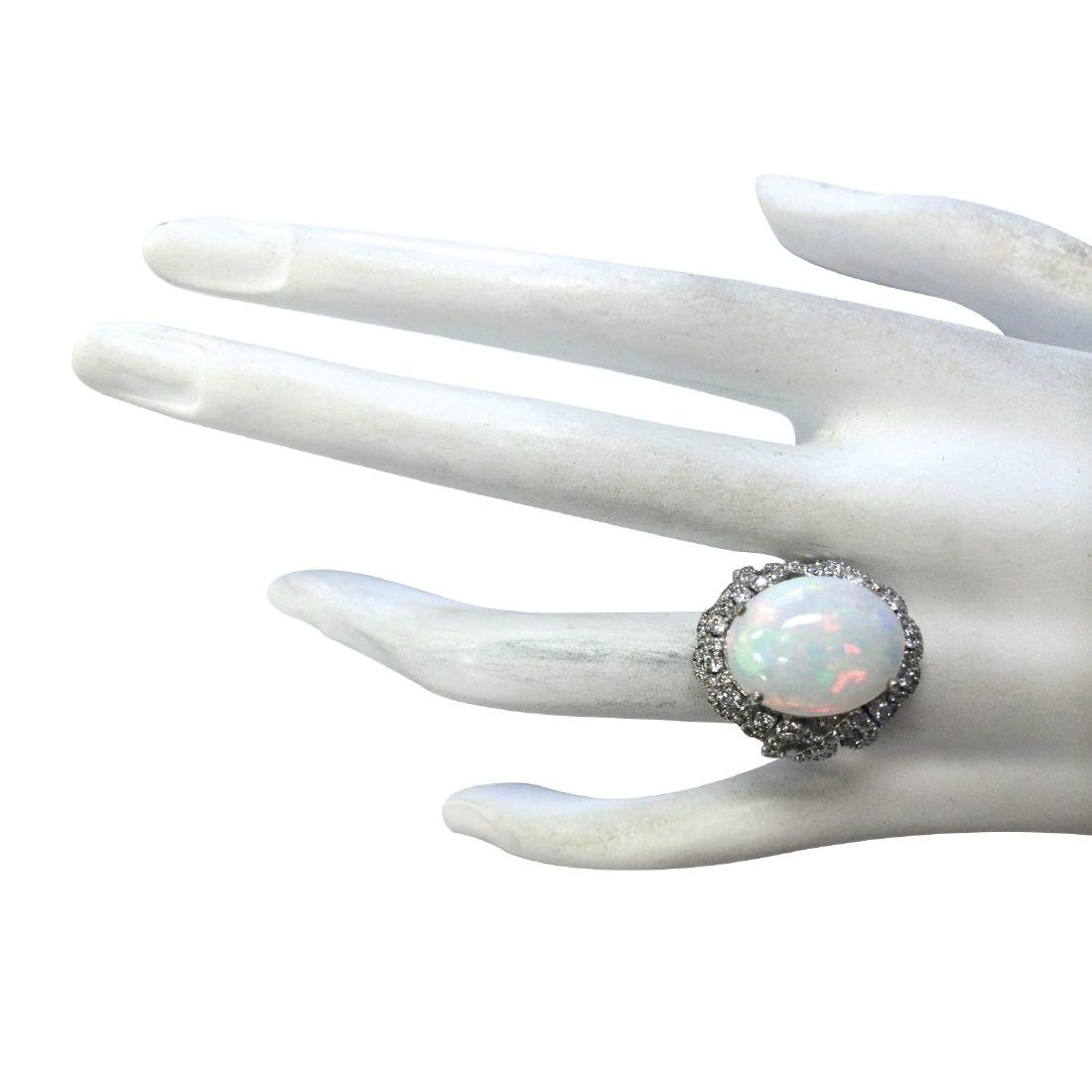 7.24CTW Natural Opal And Diamond Ring In 18K White Gold - 4