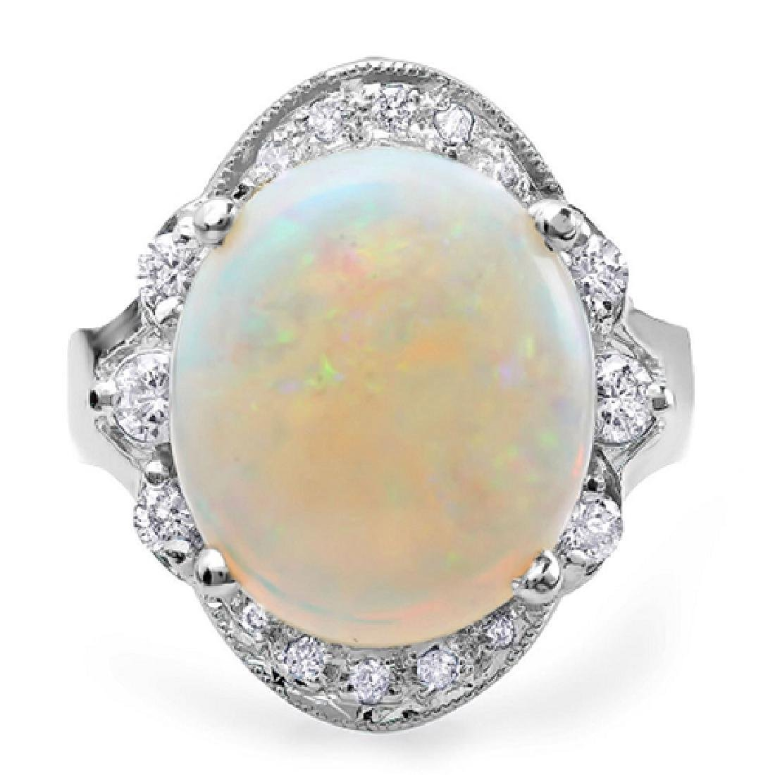 5.43 Carat Natural Opal 18K Solid White Gold Diamond