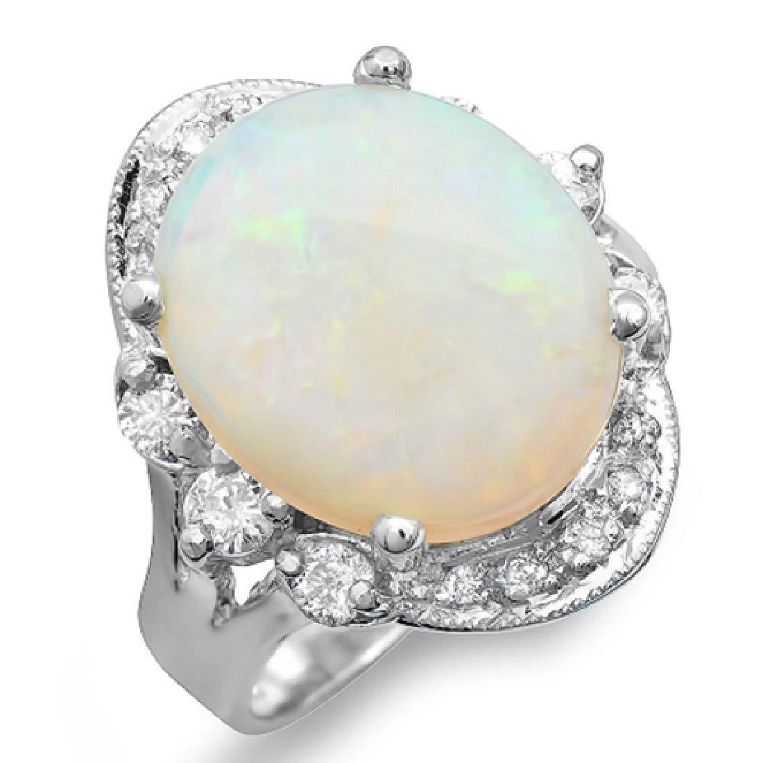 5.43 Carat Natural Opal 18K Solid White Gold Diamond - 2