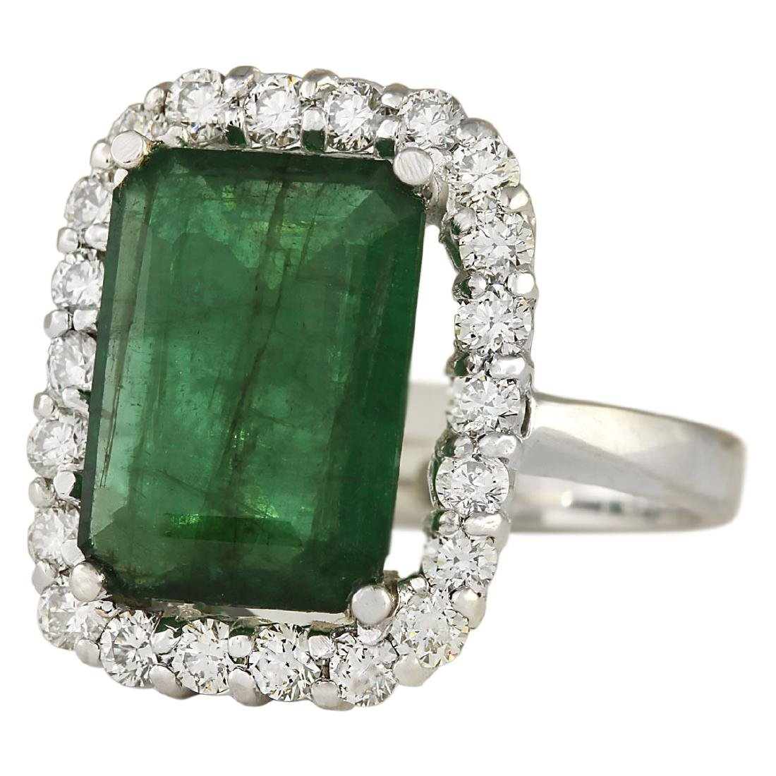 5.95 CTW Natural Emerald And Diamond Ring In 18K Solid - 2