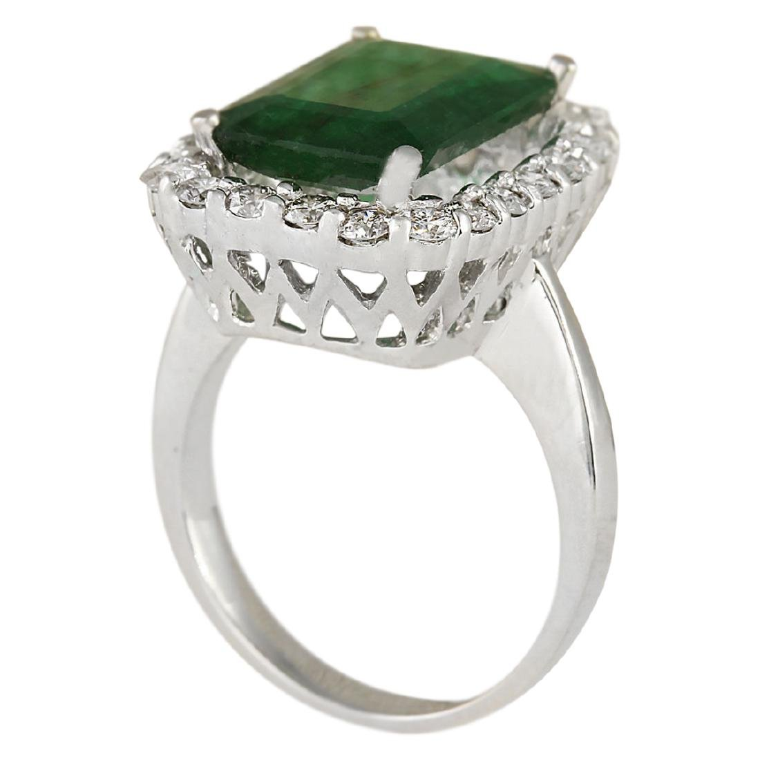 5.95 CTW Natural Emerald And Diamond Ring In 18K Solid - 3